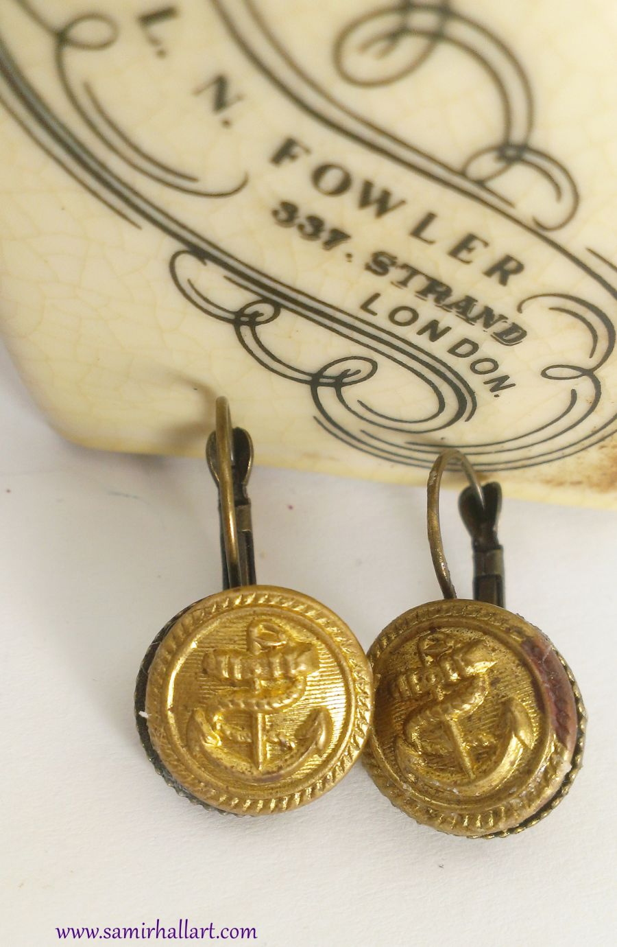 Merchant Navy Or Shipping Button Antique Anchor Yacht Uniform Earrings Upcycle