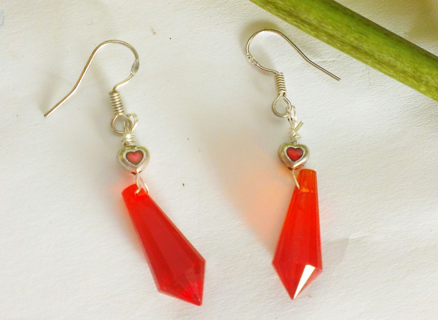 Gothic Red Heart Faceted Teardrop Glass Earrings