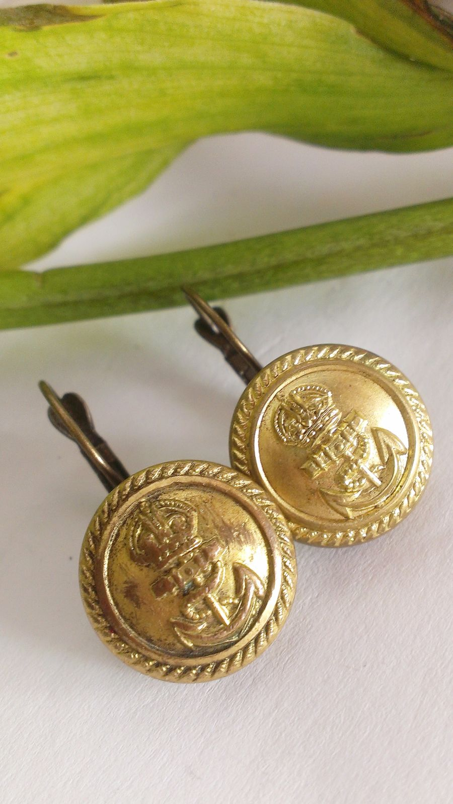 Merchant Royal Navy Or Shipping Button Antique Anchor Yacht Uniform Earrings Upcycle