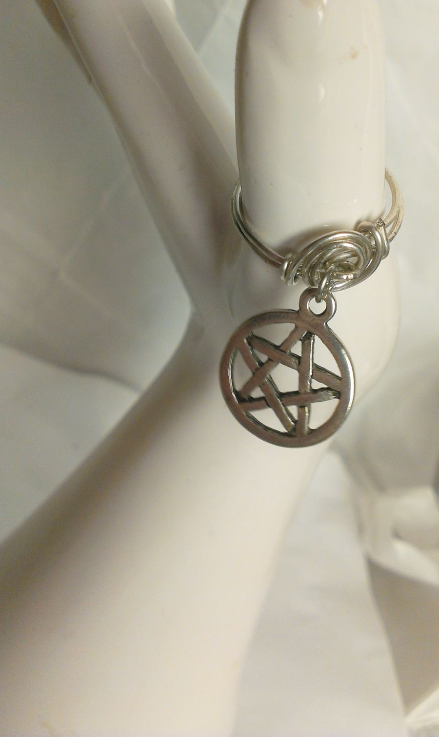 Wicca Pentagram Charm Ring Size P