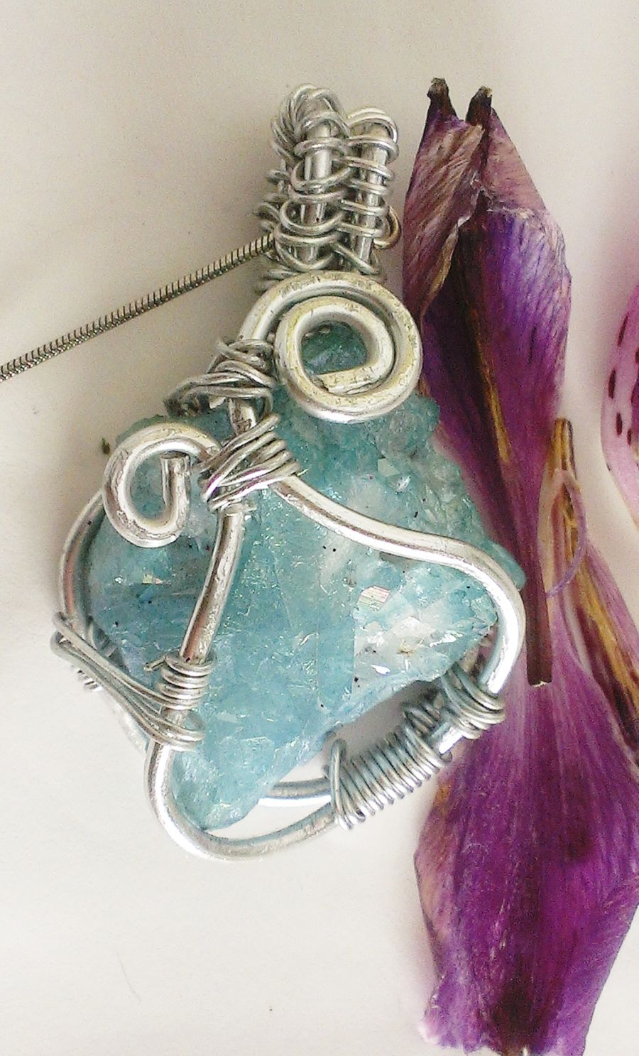 Aqua Aura Crystal Wire Wrapped Pendant on 925 Snake Chain