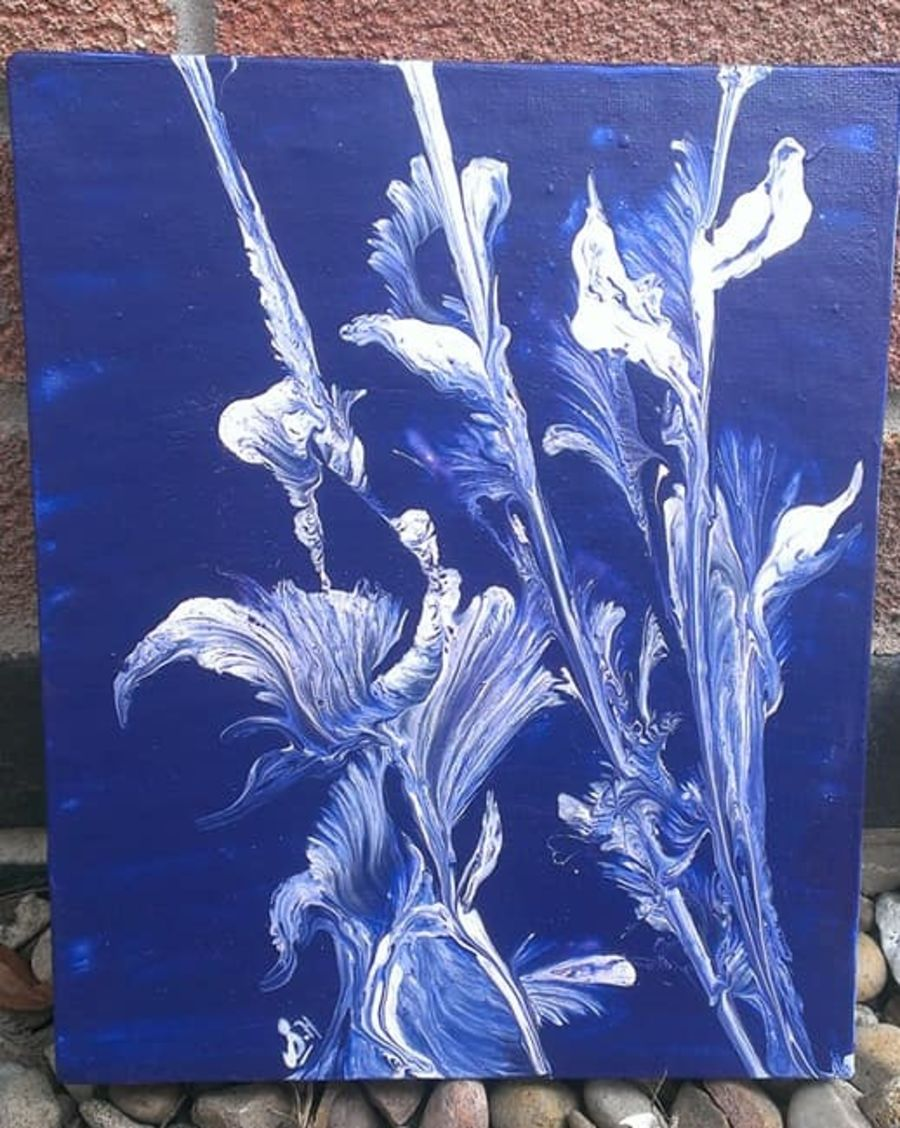 Cadburys Purple Background and White Iris Flower Hand Painted Original on Canvas