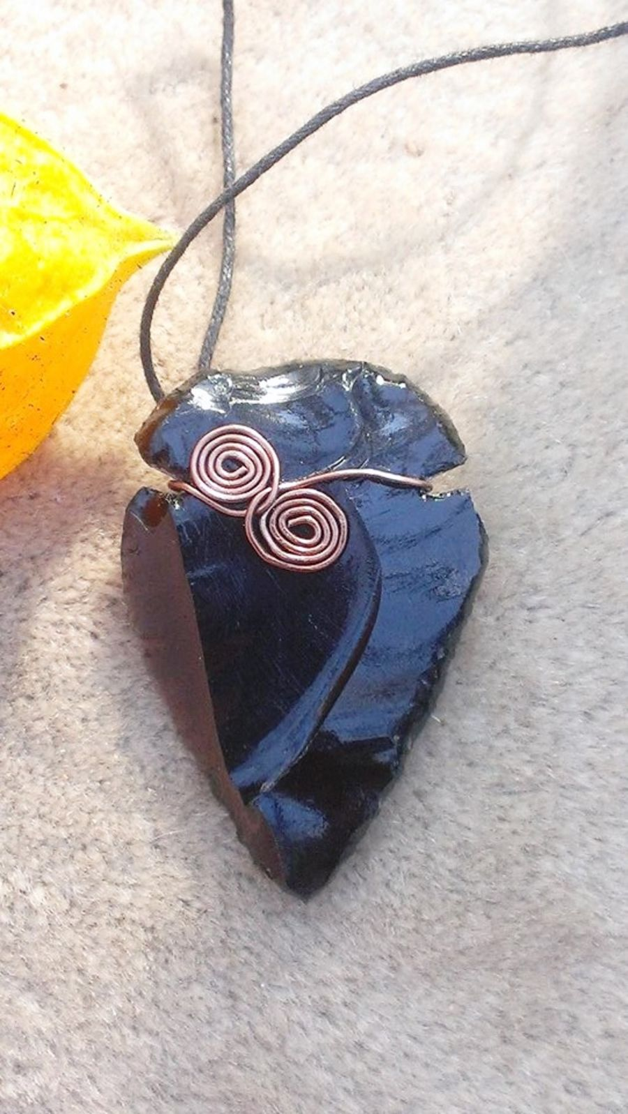 Black Obsidian Arrowhead Wire Wrap Pendant
