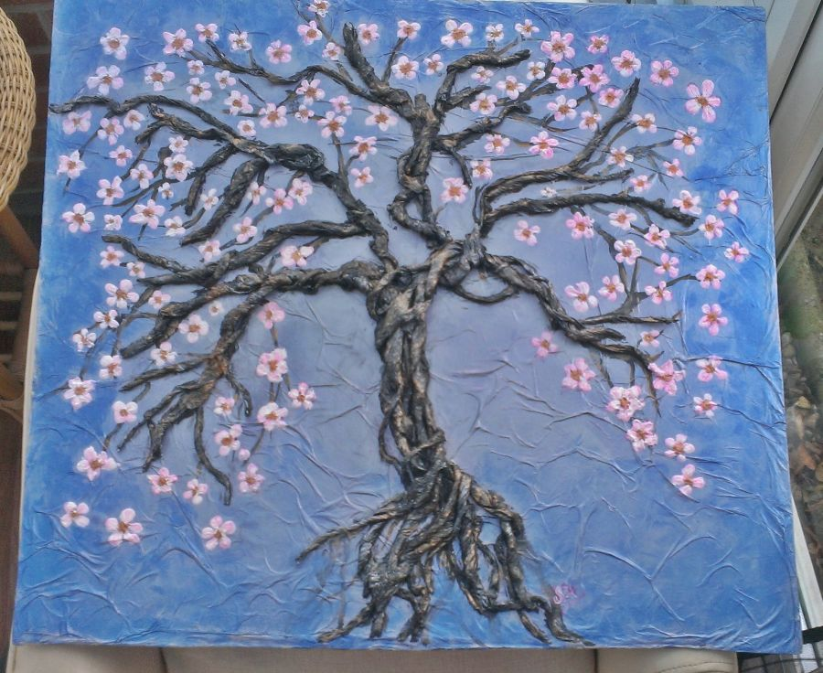 Large 3d Impasto and Paper Technique Cherry Tree Art