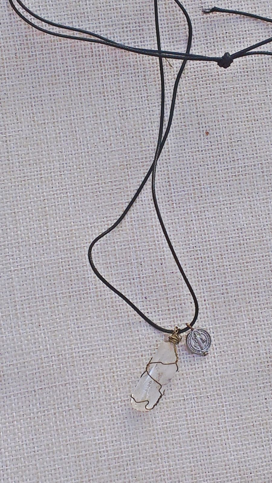 Wire wrapped quartz crystal with st benedict charm pendant necklace