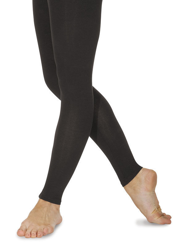 Roch Valley Black Cotton Footless Dance Tights / Leggings.