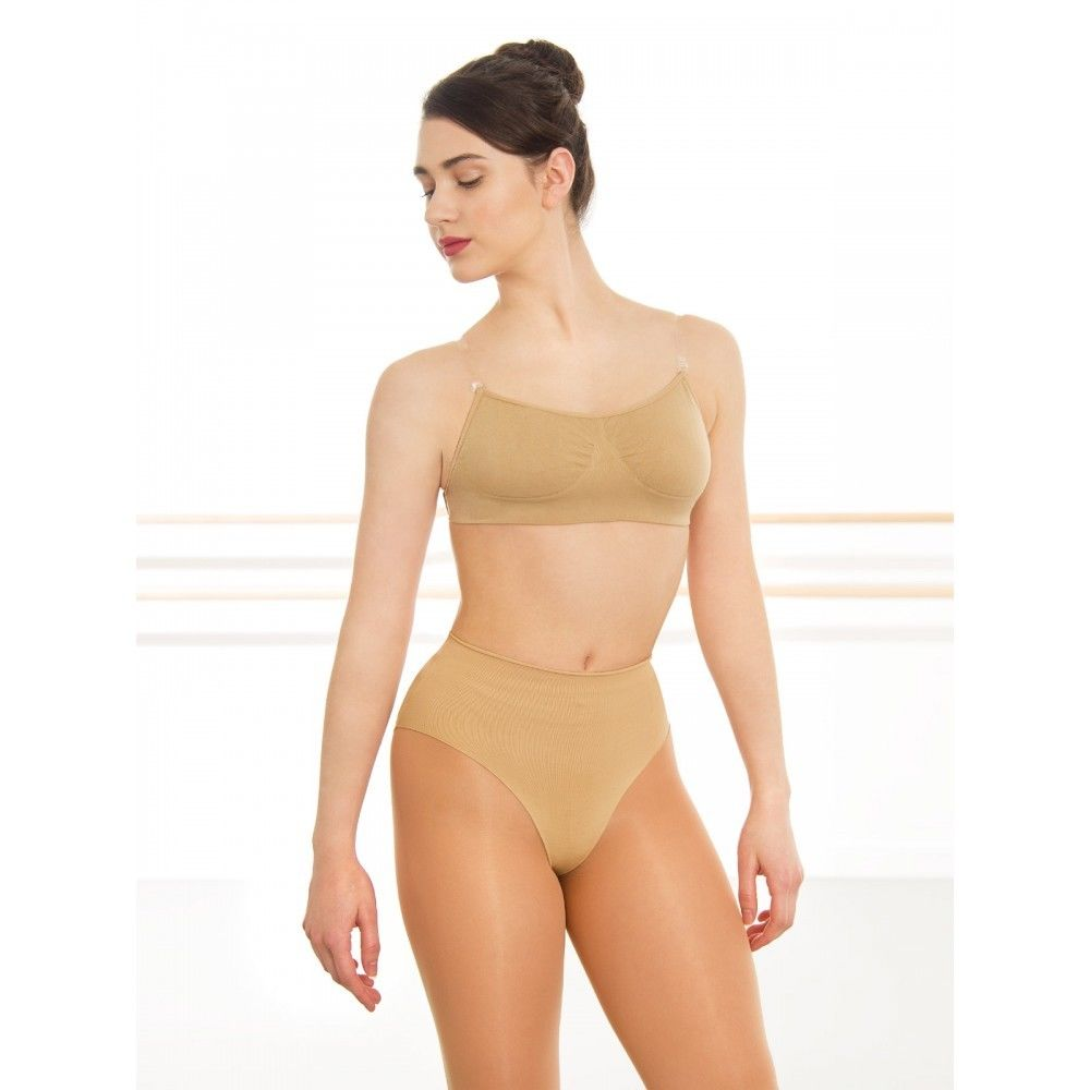Silky Seamless High Cut Nude Dance Briefs