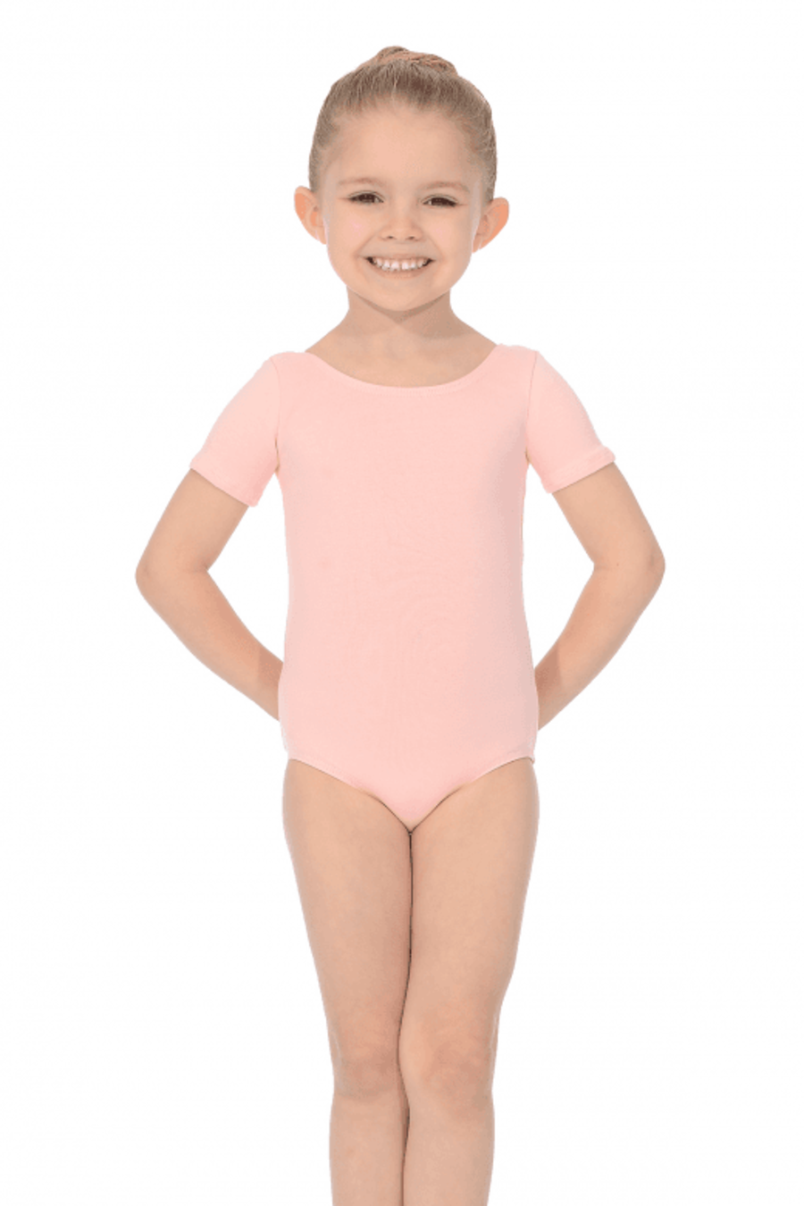 Roch Valley Prim Pale Pink short sleeve cotton lycra leotard