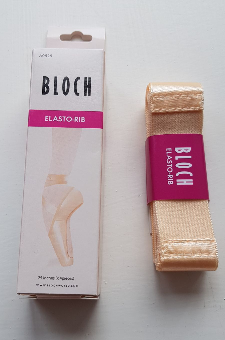 Bloch  A0525 Elastorib Pointe Shoe Ribbon with elastic insert