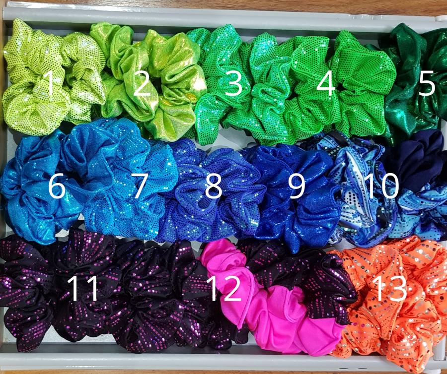 Sparkly Foil Lycra Scrunchies