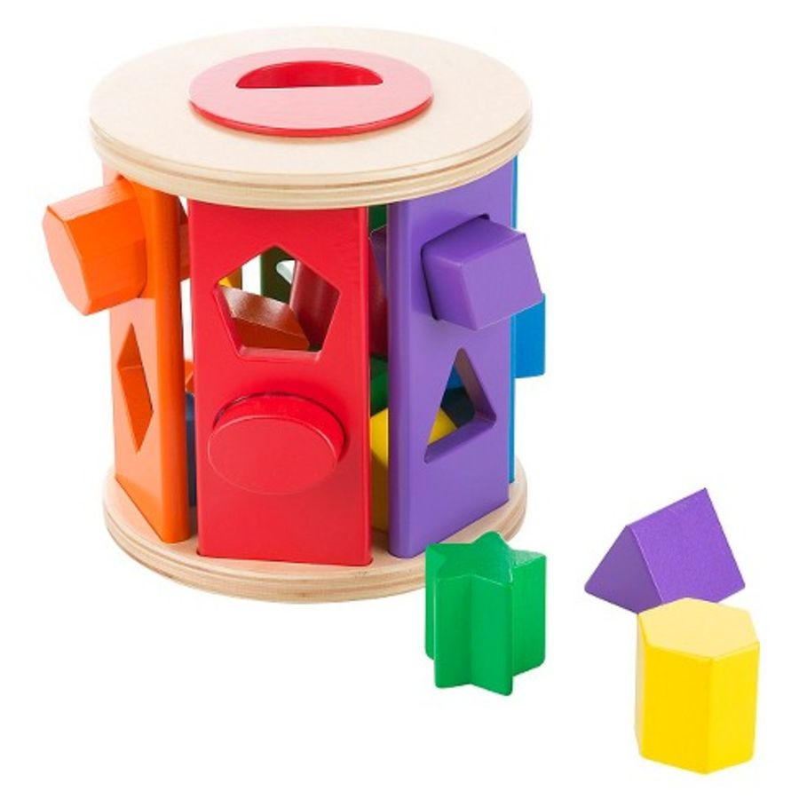 Match and Roll Wooden Shape Sorter
