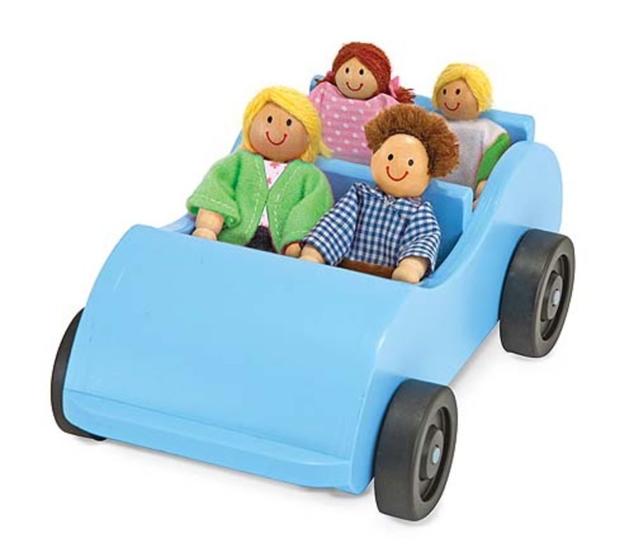 Road Trip Wooden Toy Car with 4 Dolls