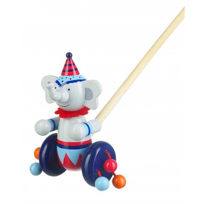 Circus Elephant Wooden Push Along