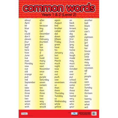 Common Words Level 2 Poster