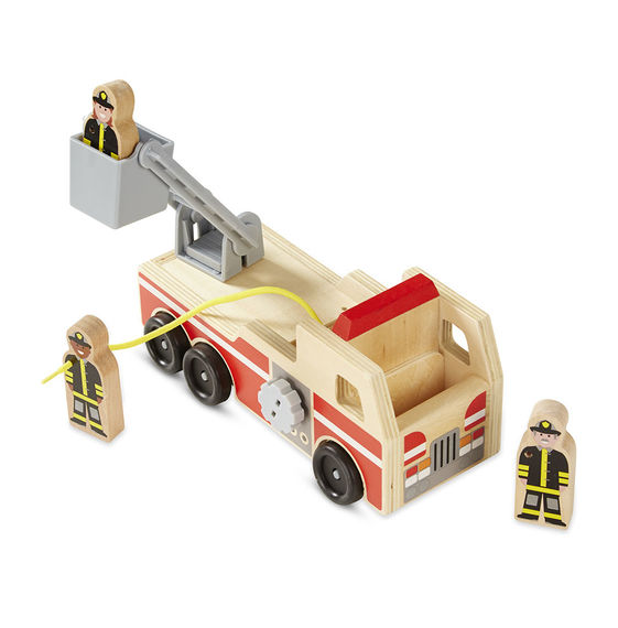 Melissa & Doug Wooden Fire Engine With 3 Firefighters