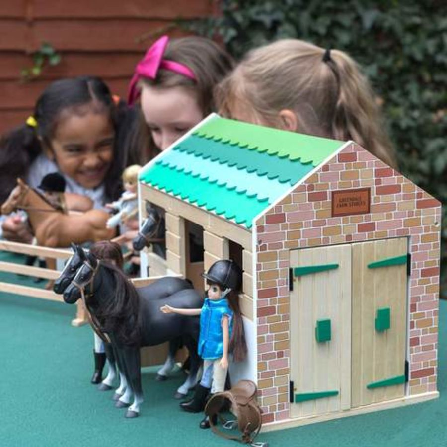 Lottie Doll Wooden Stables Play Set