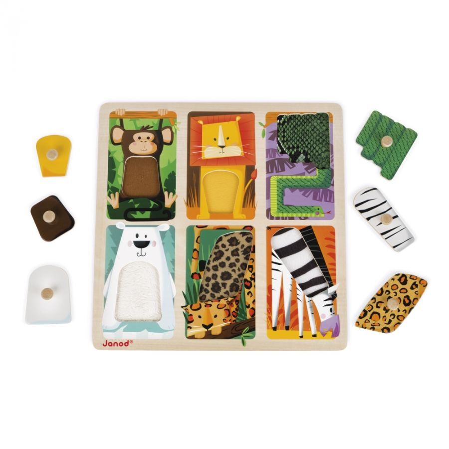 Janod Tactile Puzzle Zoo Animals