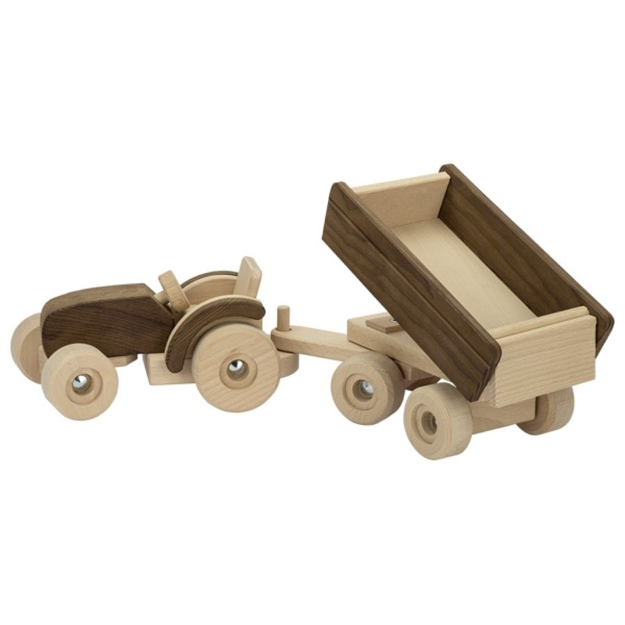 Goki Wooden Large Tractor with Trailer
