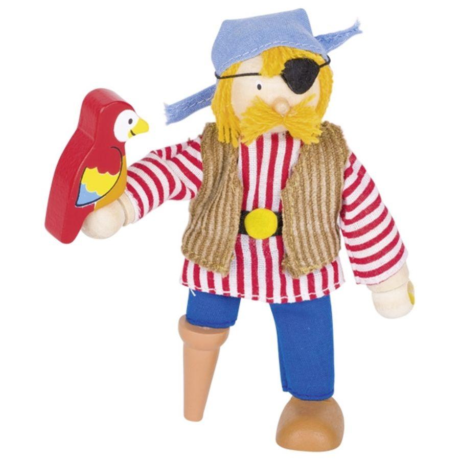 Goki Flexible Pirate Doll with Peg Leg