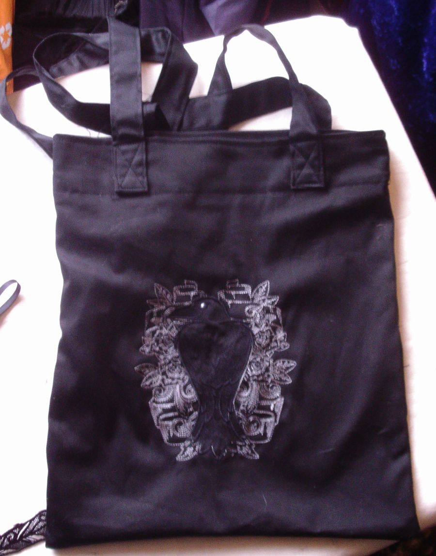 6d5434e34145 Nevermore Raven Embroidered Tote Bag