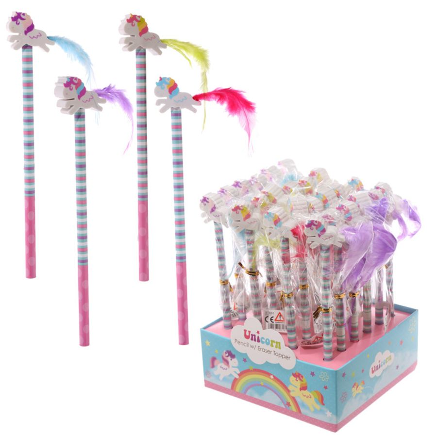 Unicorn Pencil Eraser Topper with Feather Tail