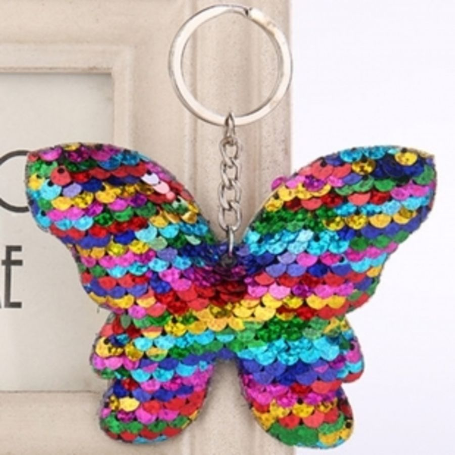 Multicolour Butterfly Sequin Keyring Bag Charm