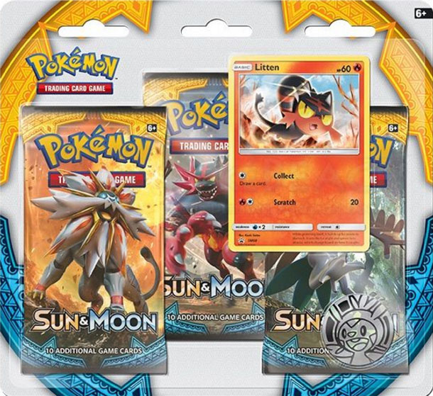 Sun & Moon Base Set Litten 3 Pack Blister