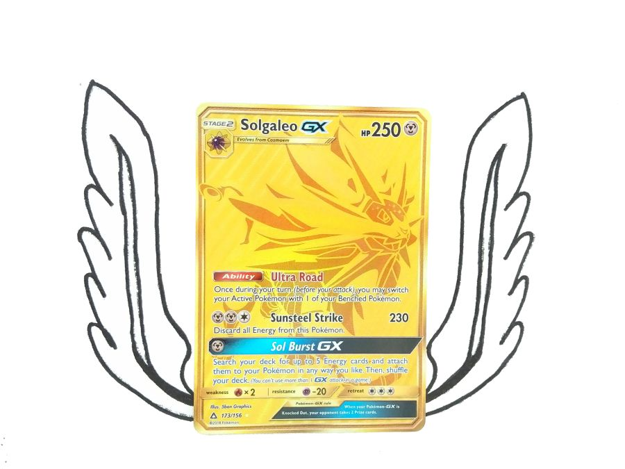 Pokemon - Sun & Moon Ultra Prism Gold Secret Rare Gold Solgaleo GX 173/156 - Single Card