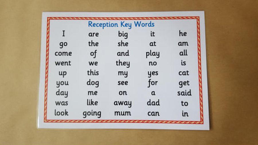 Reception Key Words Word Mat