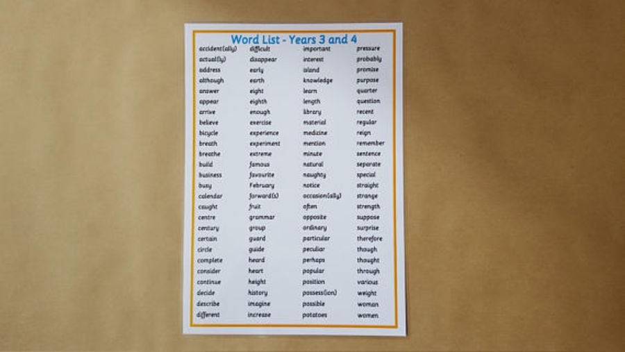 Years 3/4 Key words