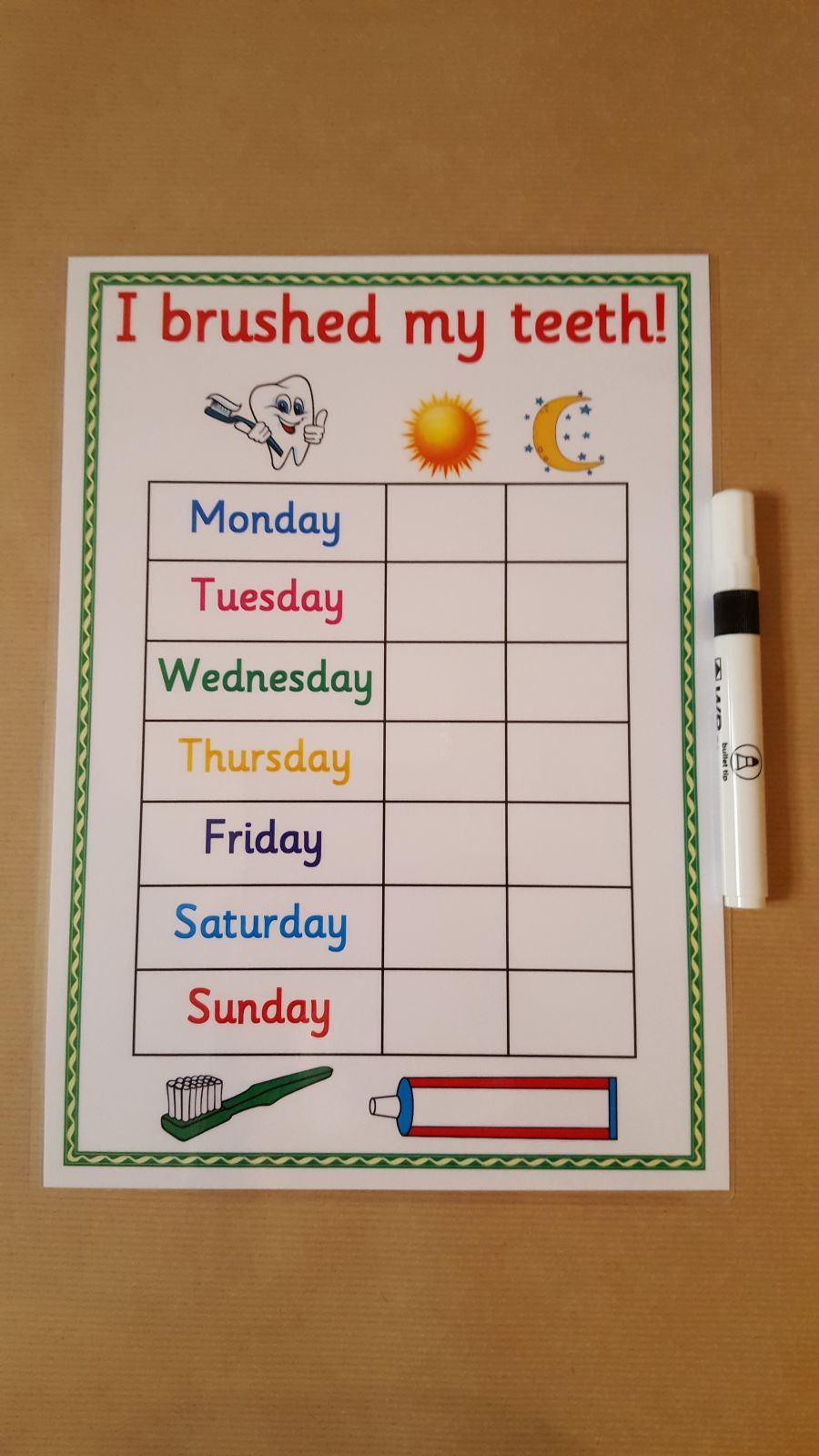 Brushing Teeth Reward Chart