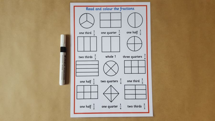Fractions Worksheet and dry wipe pen