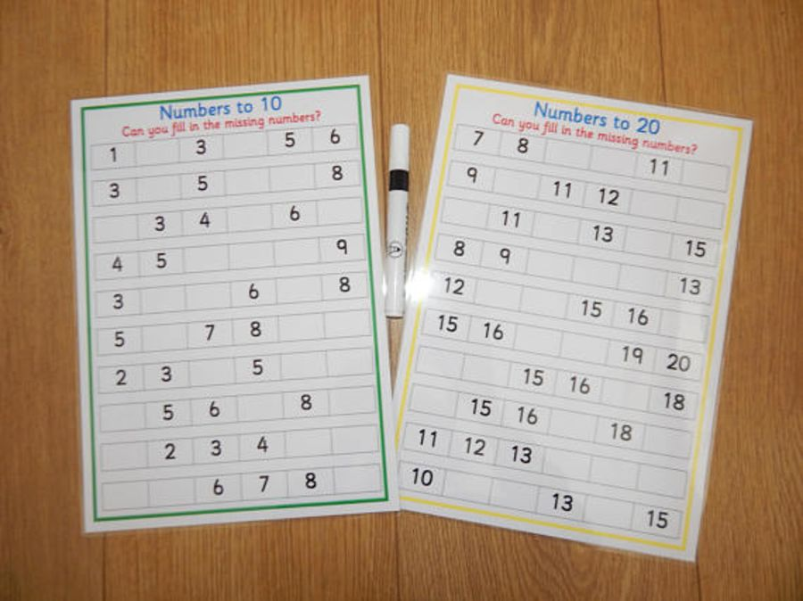 Missing Numbers - 2 x reusable worksheets