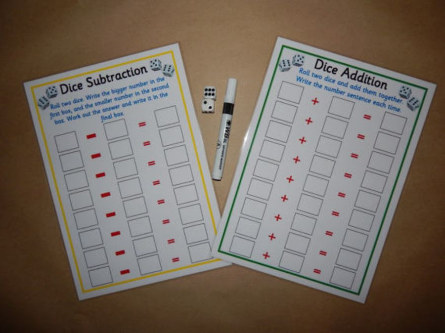 Dice Addition and Subtraction Game