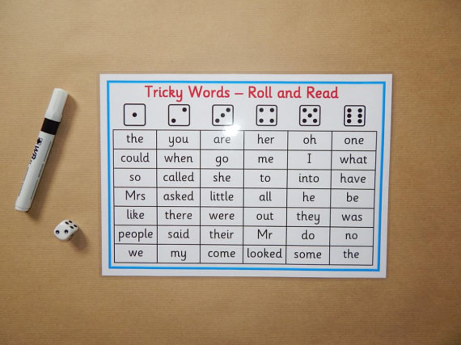 Phonics Tricky Words , Phases 2-5 Roll and Read Game
