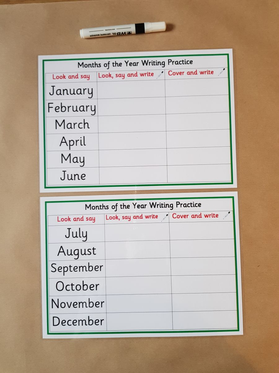 Months of the Year Cover and Write Mats