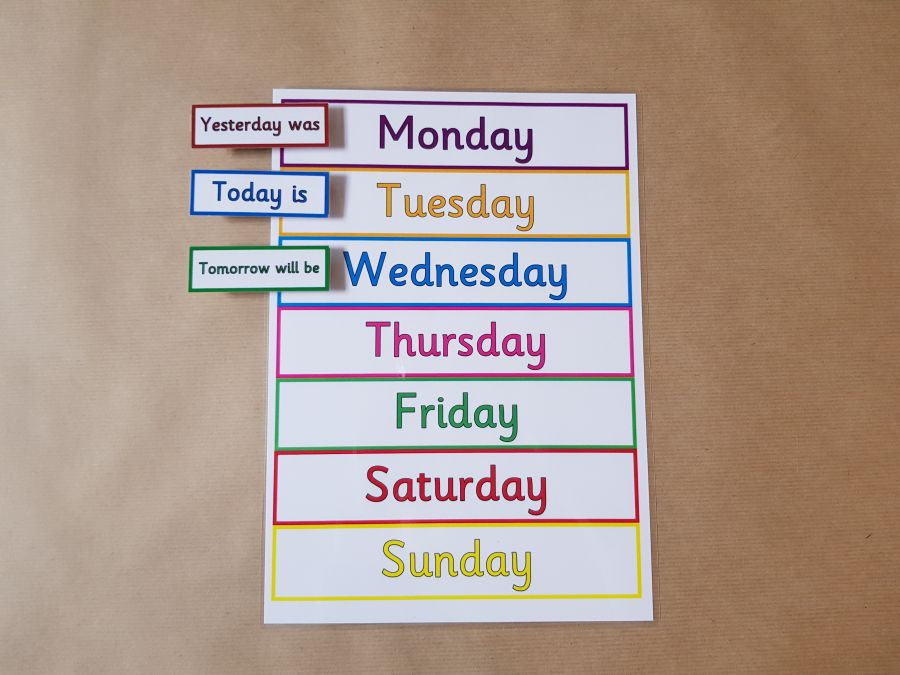 Days of the Week Peg Chart