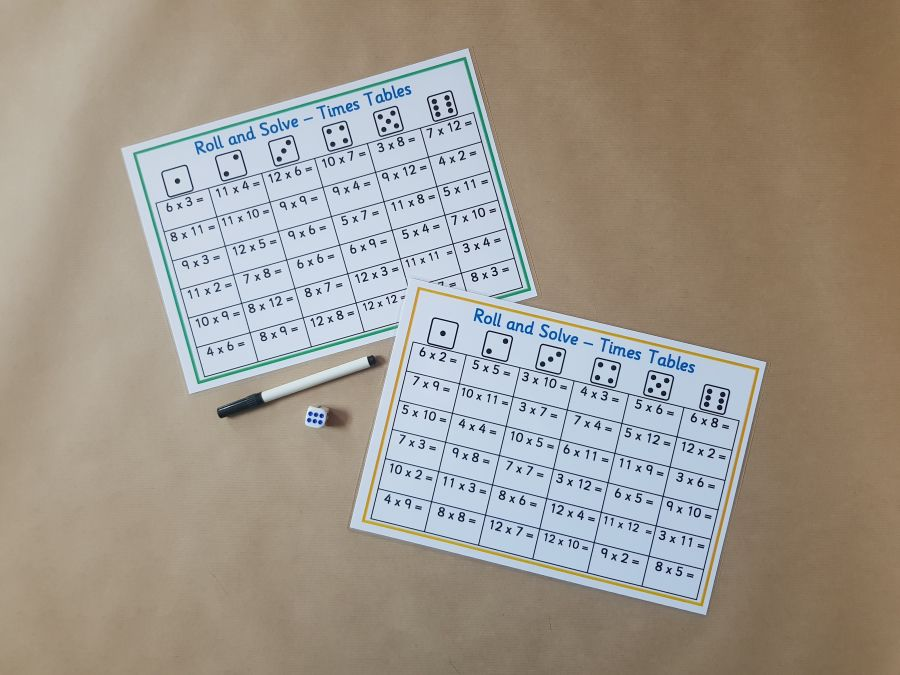 Times Tables Roll and Solve Game