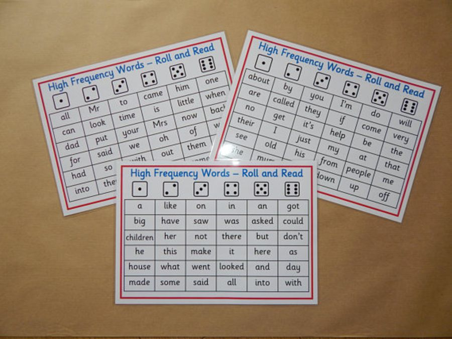 High Frequency Words Roll and Read Game