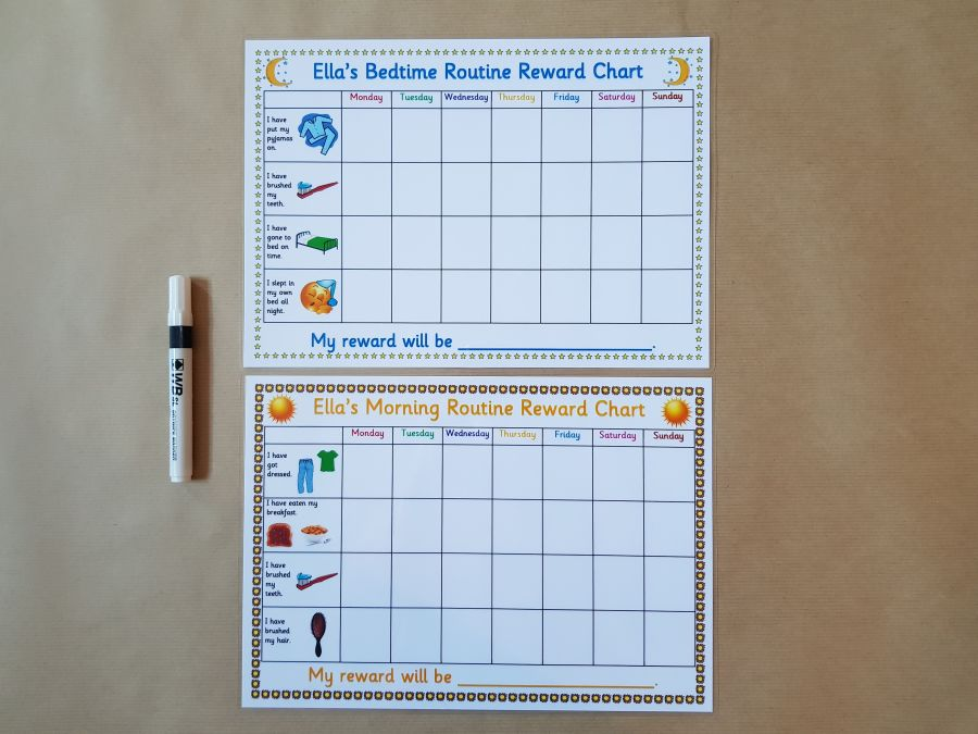 Morning and Bedtime Routine Reward Charts