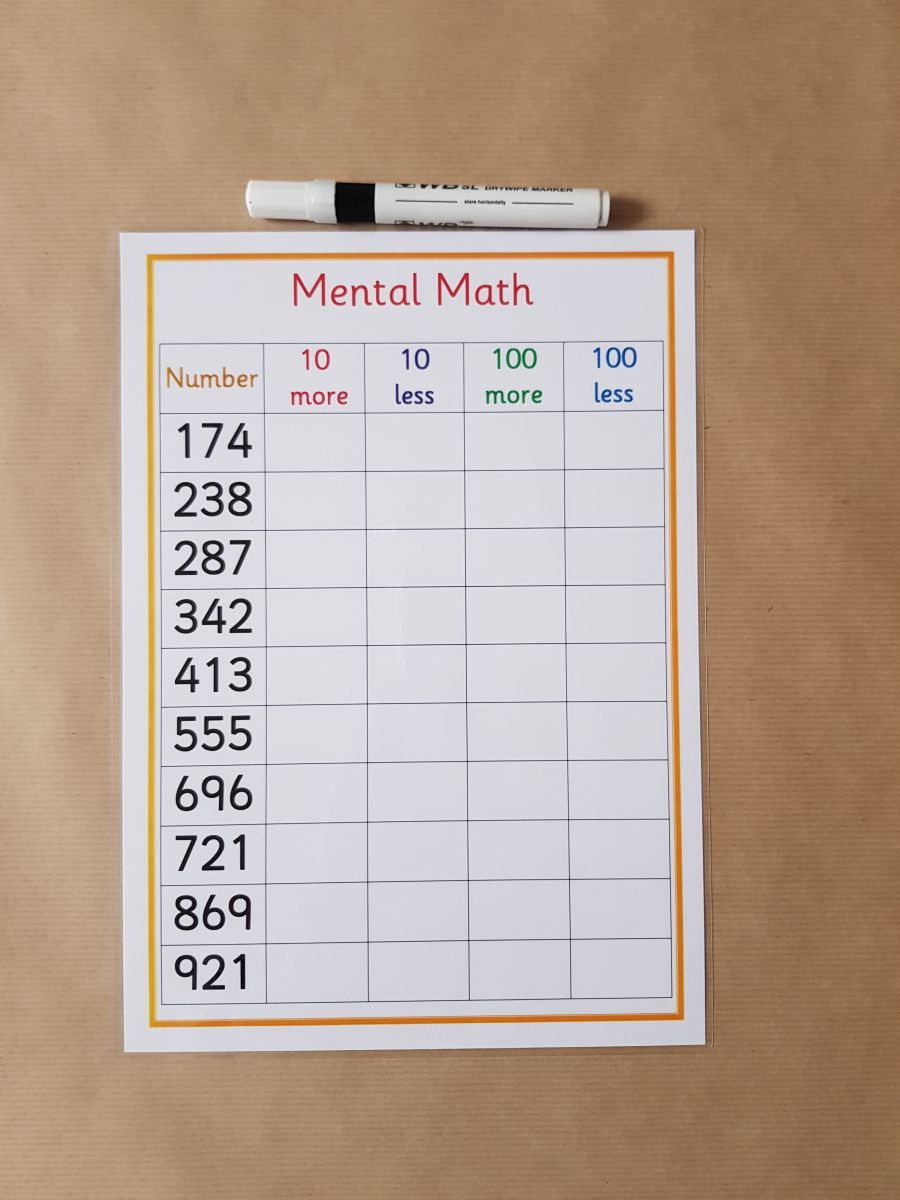 Mental Math Worksheet