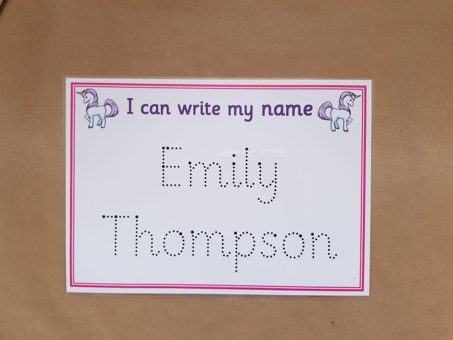 Unicorn Name Tracing Card