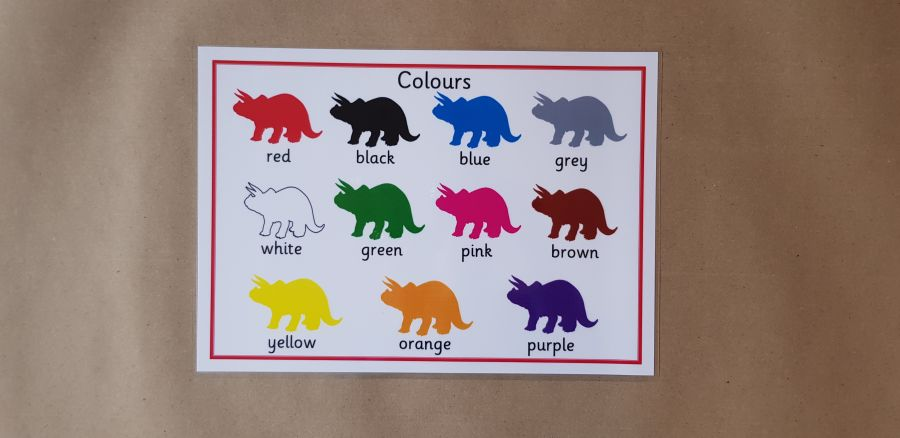 Dinosaurs Colours Poster