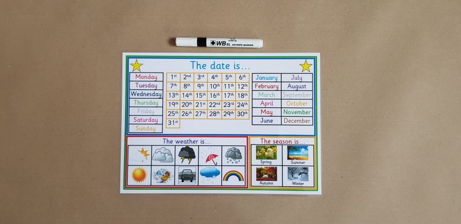 Calendar and dry wipe pen