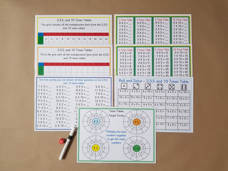 Year 2 Times Tables Bundle, 2, 3, 5 & 10 Times Table