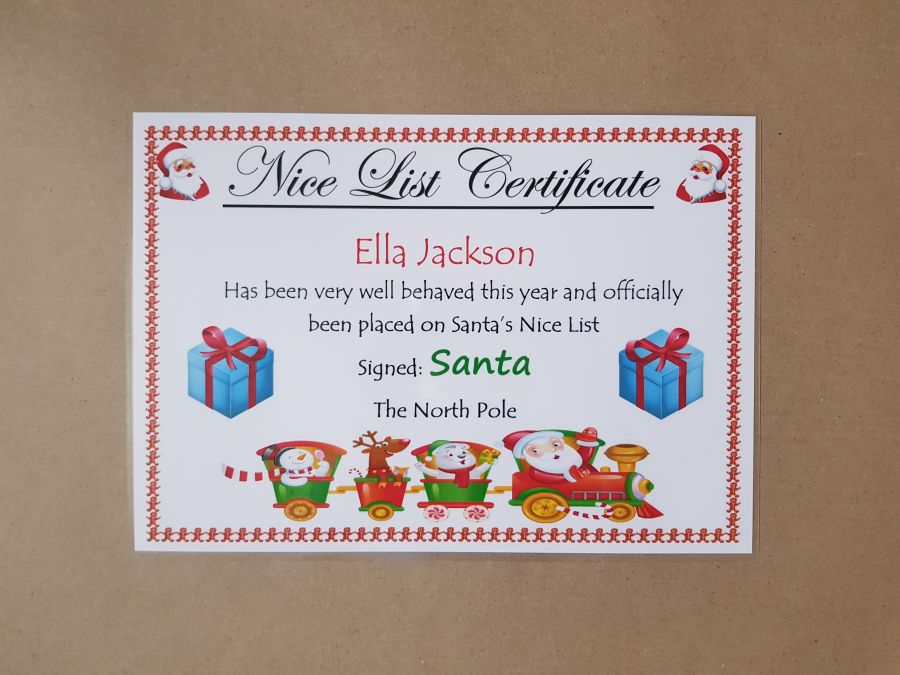 Nice List Certificate