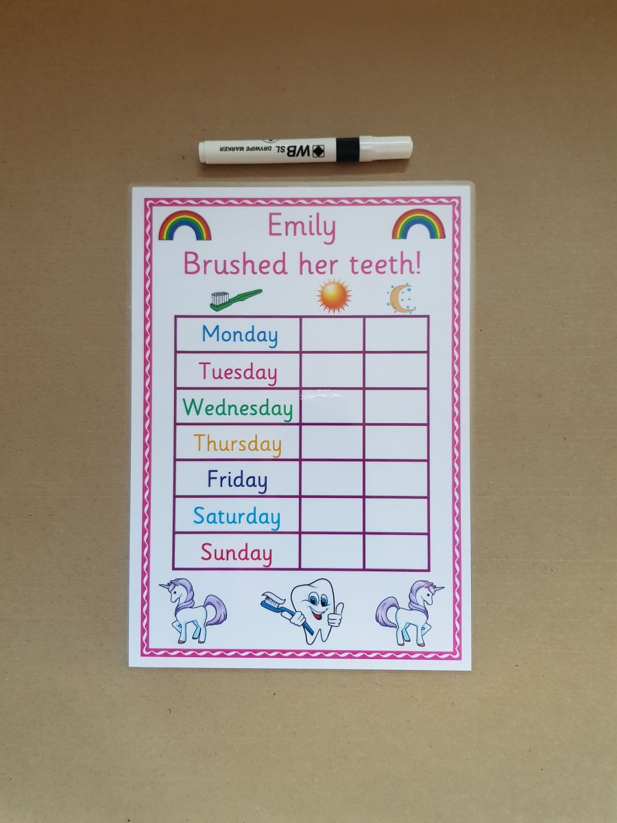 Unicorn Brushing Teeth Reward Chart