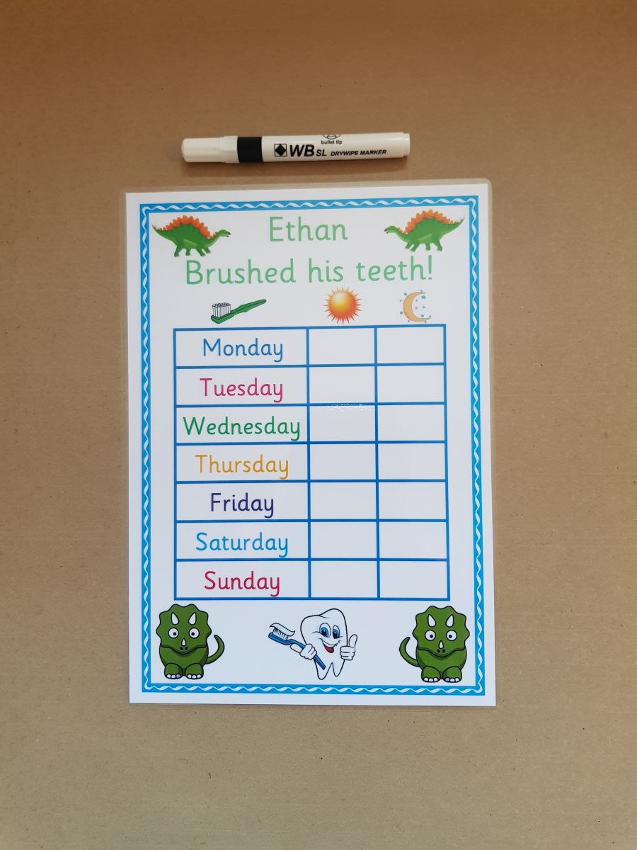 Dinosaur Brushing Teeth Reward Chart