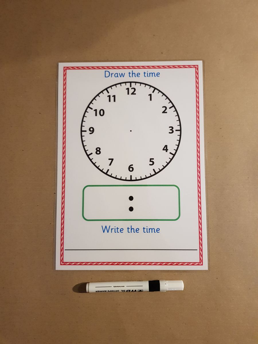 Dry Wipe Clock Activity