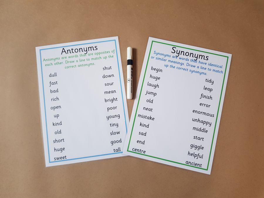 Synonyms, Antonyms Worksheets